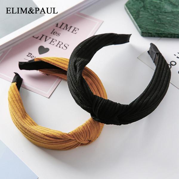 Simples Mulheres Hairbands 2018 Novas Meninas Da Moda Do Vintage Knitting Torcido Atada Headband Faixas de Cabelo Largo Acessórios de Chapelaria