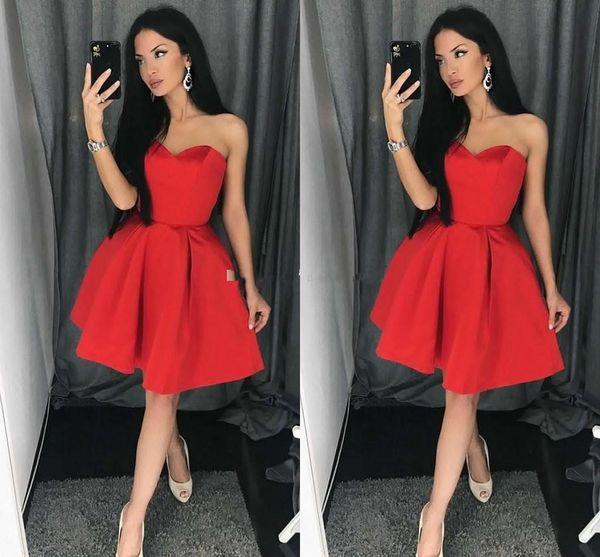 2018 Simple Red Satin Sweetheart Short Prom Dresses Sleeveless Zipper Ruffles Knee Length Short Mini Party Dresses Evening Gowns Custom Made
