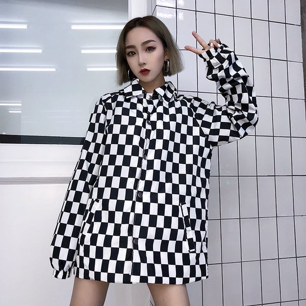 Streetwear Hiphop Loose Long Sleeve Single Button Thin Checkerboard Plaid Jacket Summer Sun Cover Up Blusa Letter Coat BF Outfit