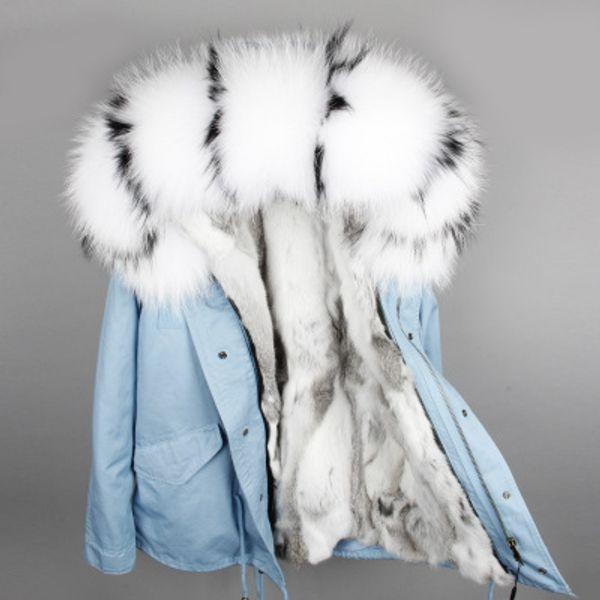 Abrigos para la nieve con adornos de piel de mapache blanco negro Abrigos abrigos de la marca MAOMAOKONG Gris parquet azul claro forrado de piel de conejo blanco