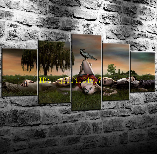 Vampire Diaries Vicki Death 5 Pieces Canvas Prints Wall Art Oil Painting Home Decor /(Unframed/Framed)