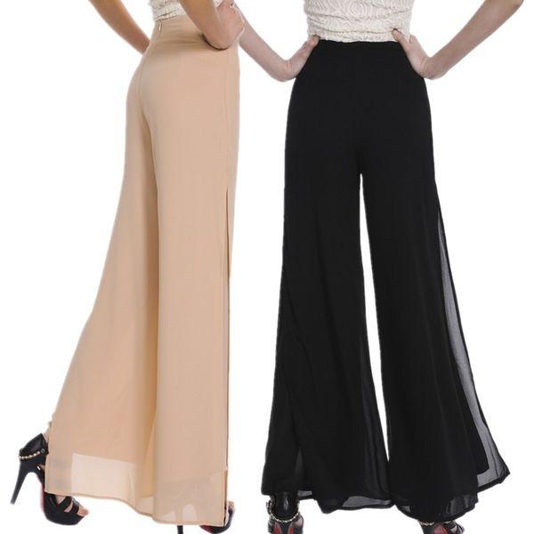 Women Ladies Vintage Loose High Waist Long Trousers Chiffon Side Split Casual Palazzo Pants Wide Leg Pants pantalones S18101606