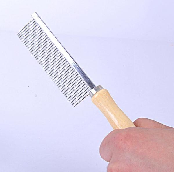 Pet Rake Comb Pet Chien Chat Cheveux Toilettage Tondeuse Rake Peigne Chien Chat En Acier Inoxydable Pins Manche En Bois Chien Nettoyage Brosse SN1274