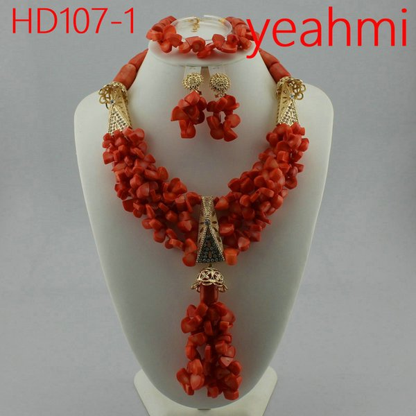 Latest Coral Gold African Wedding Beads Jewelry Set African Nigerian Coral Beads Jewelry Set Dubai Gold Bridal Jewelry Set HD107-2