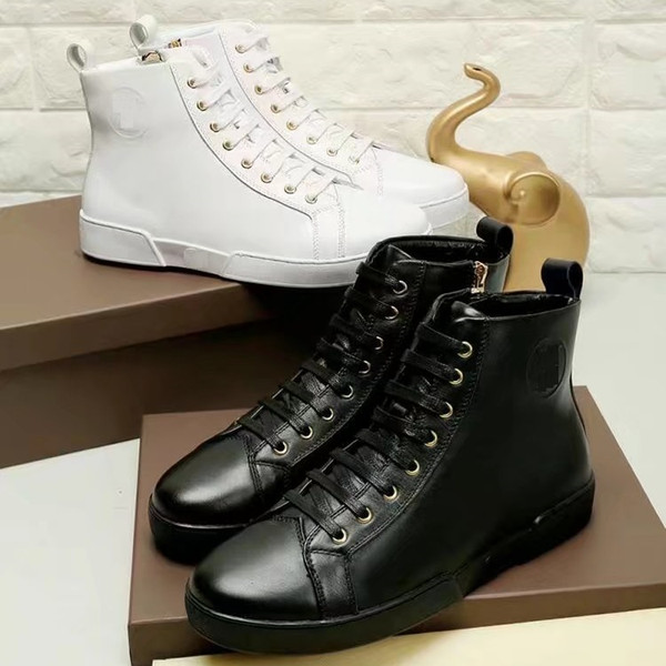 Brand Men cow leather high top skateboarding shoe Lace-up fashion sneakers Sport Flat Printed Winter Snow Ankle Martin Boots,38-45