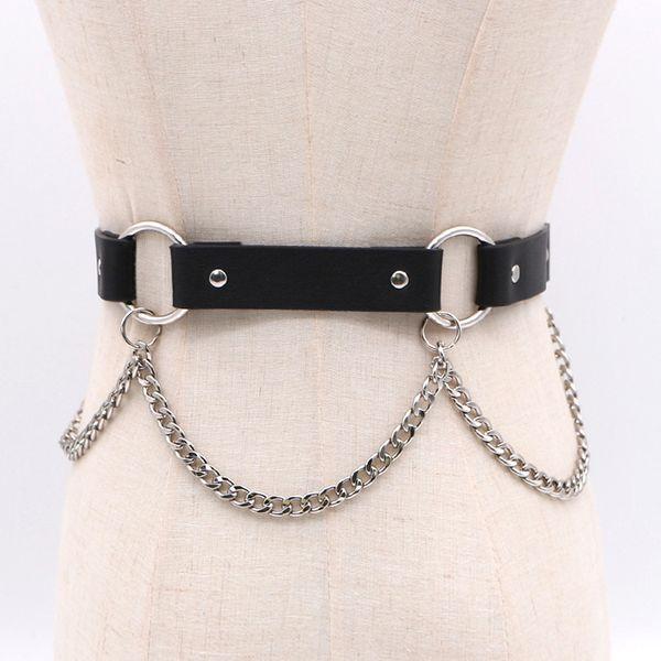 European Punk PU Belt For Women Casual Rivet Waistband Dress Belts Elegant Ladies Female Caestus Metal Chain Leather Waist Belts
