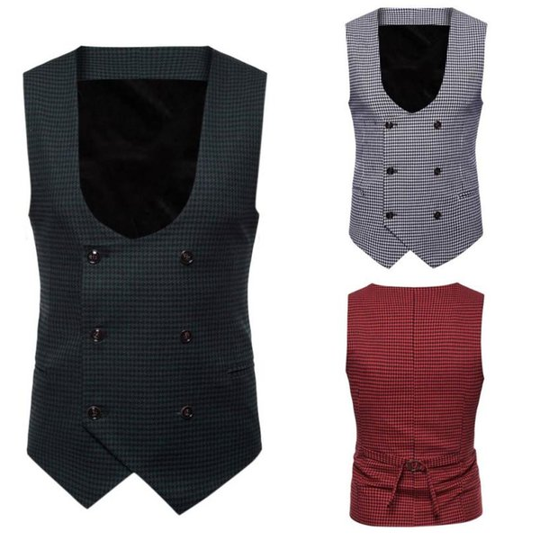 WOMAIL Men Vest Button Casual Plaid Print Suit Vests For Men Vintage Sleeveless Jacket British Suit Vest 4L Dropshipping 18Aug13