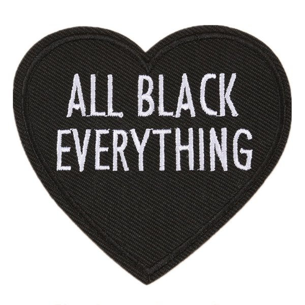 best selling Embroidery Letter Patch All Black Everything Heart Shape Sew Iron On Embroidered Patches Badges For Bag Jeans Hat T Shirt DIY Appliques