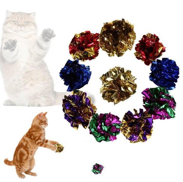 best selling New Creative Mixed Color Funny Cat Toy Crinkle Sound Shiny Paper Play Balls Pet Gifts Free Shipping