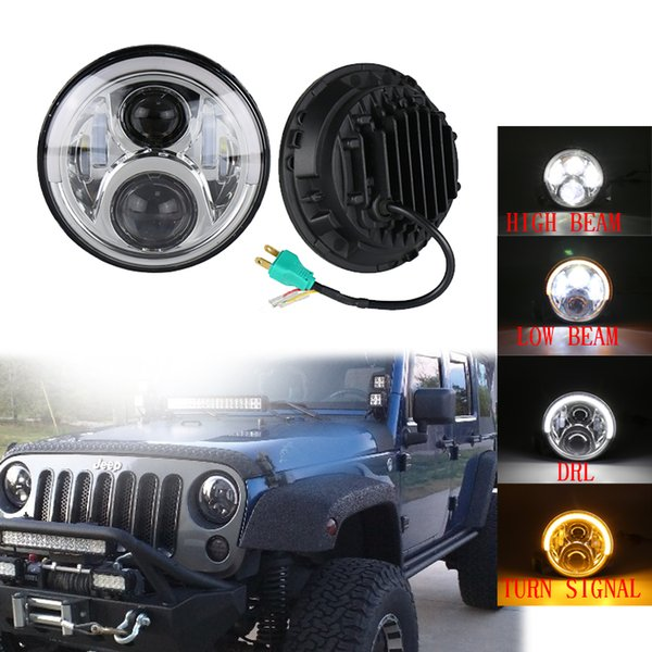 7inch 60W LED Round Headlights Hi/Lo Beam + Angel Eyes Headlamp for Jeep Wrangler JEEP CJ JK TJ with DRL Black/Chrome headlights