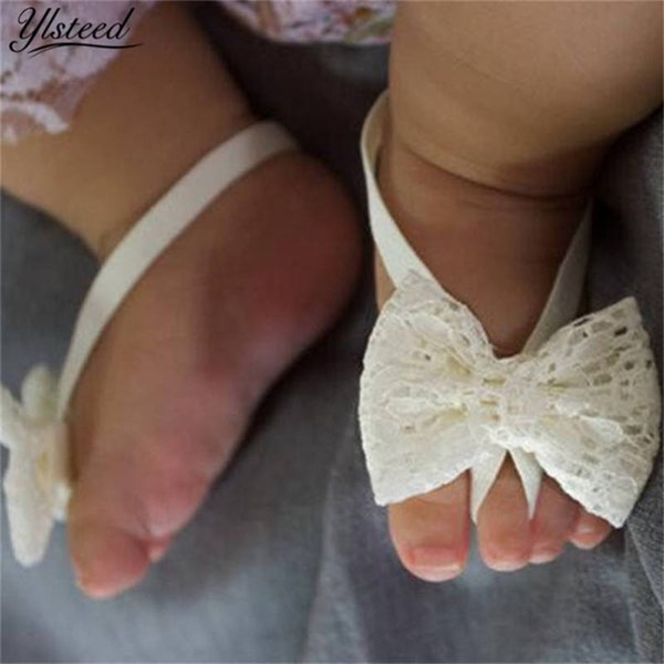 0-6M Baby Fashion Feets Accessories Baby Girls Bowknot Barefoot Sandals Lace Foot Flower Newborn Shoes Girl