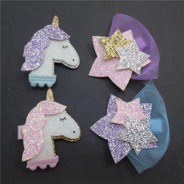 20pcs/lot Cartoon Animal Unicorn Hair Clips Girls Glitter Star Barrette Headwear Hotsale Sparkly Purple Fairy Animation Hairpin