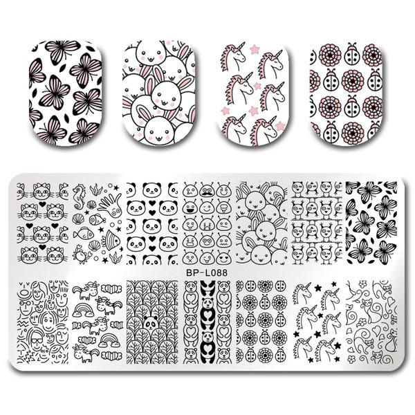 BORN PRETTY Stamping Template Cartoon Unicorn Aliens Panda Stamp Plate Rectangle Nail Art Image Plate BP-L088