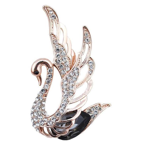 Großhandel 3 Farben wählen Strass und Kristall Schwan Broschen für Frauen Gold überzogen elegante Tier Pins und Broschen Modeschmuck