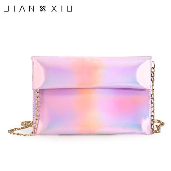JIANXIU Moda Feminina Sacos Do Mensageiro Holograma Saco Da Bolsa De Rolo A Laser Rim Almoço Sacos Crossbody Feminino Meninas Evening Envelope Bag