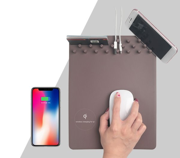 Tappetino per mouse ricaricabile per mouse Qi Wireless 4 in 1 per iPhone X samsung phone Tappetino per mouse per mouse pad