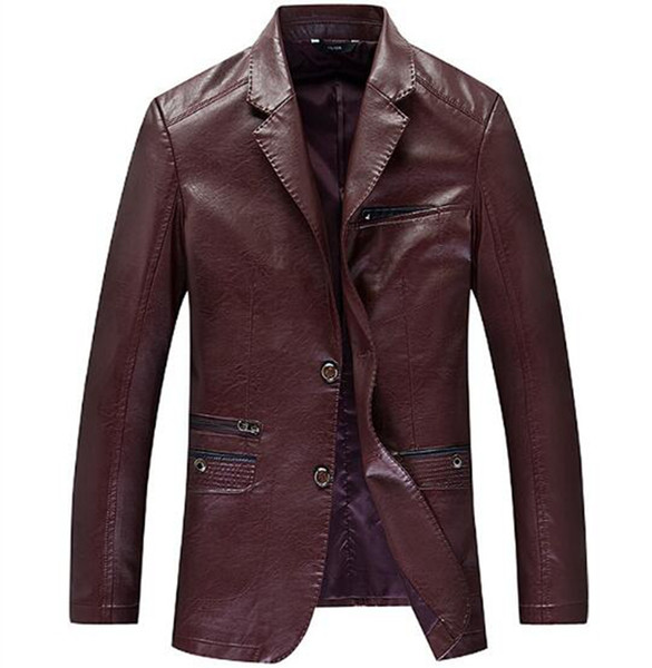 Autumn winter fashion Europe the United States new style slim body fashion boutique handsome men suit collar leather coat /M-4XL