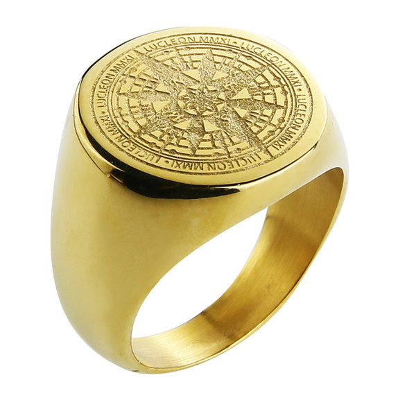 2019 Valily Jewelry Mens Ring Simple Design Compass Ring Gold