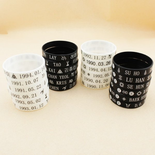 1 PCS White Color EXO Combination 12 Member Logo Bracelets For Women Silicone Hologram Bracelet Wholesale Pulseras 1197