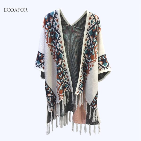 Bohemia Geometric Cardigan Women 2017 Fall Autumn Vintage Poncho Cape Folk Style Knit Shawl Fringed Cloak Coat Tassel Cardigan