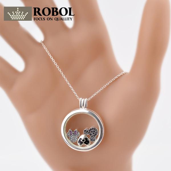 ROBOL 100% 925 стерлингового серебра Boxs кулон ожерелье кулон Оптовая женщин серьги день рождения DIY браслет ювелирных изделий подарок