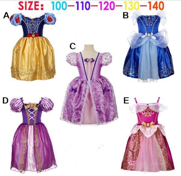 Girls Princess Dresses urora Christmas Halloween Cartoon Fronze Cinderella Snowwhite bubble skirt Flare Sleeve Vintage Dresses cosplay