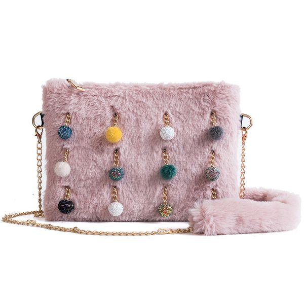 2019 korean style cute hair chain women messenger bag personality ball tassel shoulder bags ladies faux fur envelope day clutch