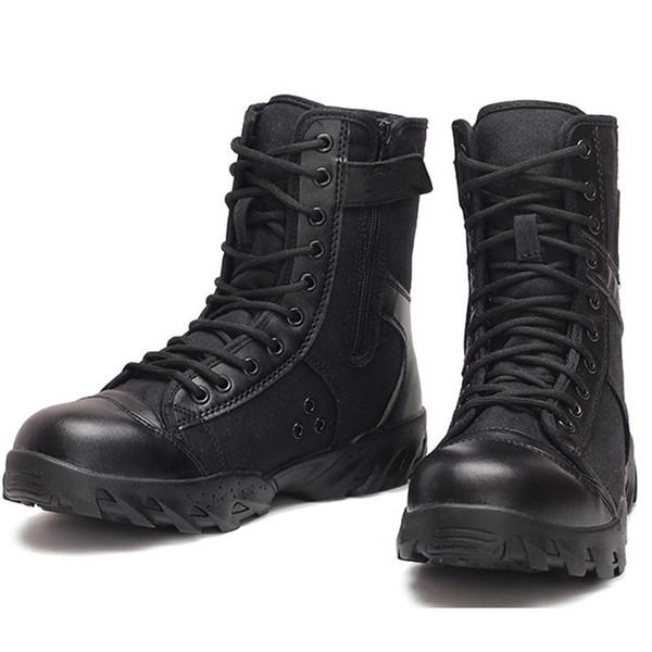 Botas de ejército verano botas de combate de lona negro transpirable hombres fuerzas especiales botas tácticas de lado alto zapatos de guardia de seguridad