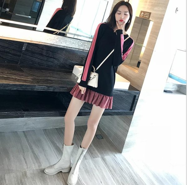 2018 hot-sell new fashion novel design Han edition in the fall of the new show thin loose stitching holiday two round collar dress
