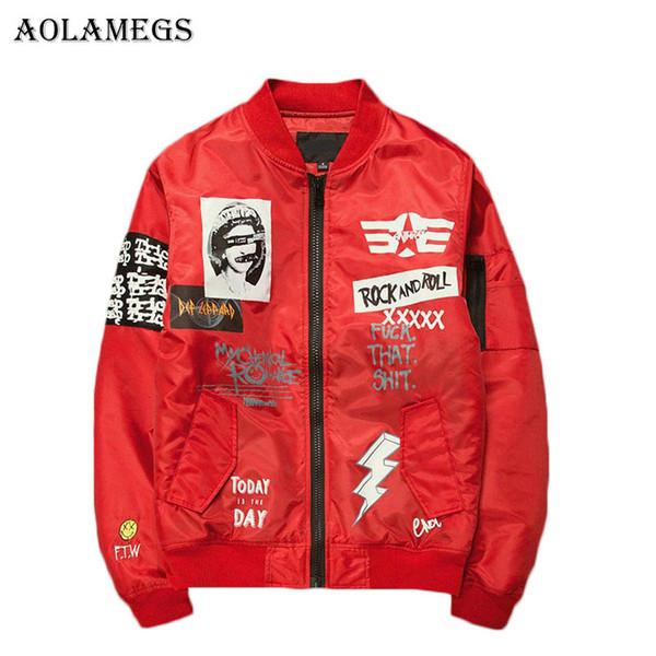 Aolamegs Jaqueta Homens Impressão Plus Size Gola Jaqueta Bomber Moda Casaco Outwear Casaco Jaquetas de Beisebol Dos Homens Da Marca Nova Marca