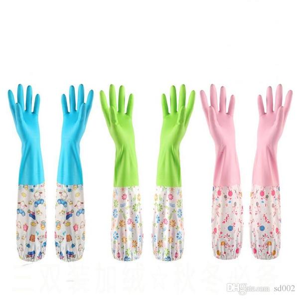Guanti impermeabili per la pulizia della casa con fascia elastica Guanti in gomma di velluto per la protezione Proteggono le mani Strumenti per le forniture domestiche 4 4sy ii