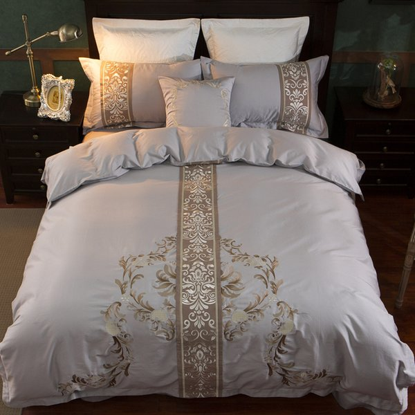 Chinese style Oriental Embroidery Egyptian Cotton Luxury Bedding Set Queen King size Duvet cover Bed sheet set Pillowcase 4/7Pcs