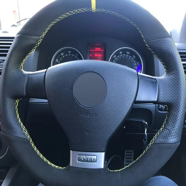 Black Suede Genuine Leather DIY Car Steering Wheel Cover for Volkswagen Golf 5 Mk5 GTI VW Golf 5 R32 Passat R GT 200