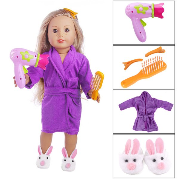 """New Hair Dryer Comb Hairpin Bathrobe Slippers for All 18"""" American Girl Doll Bath Supplies Accessories Wholesale"""