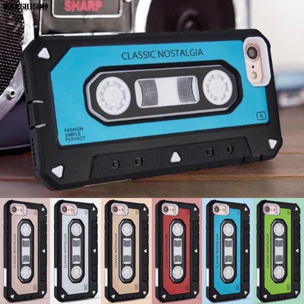 New Style Classic tape vintage Antiurto Cove protettiva per iPhone X Case Dual Layer Hybrid Old Styles Tape Radio Custodie originali
