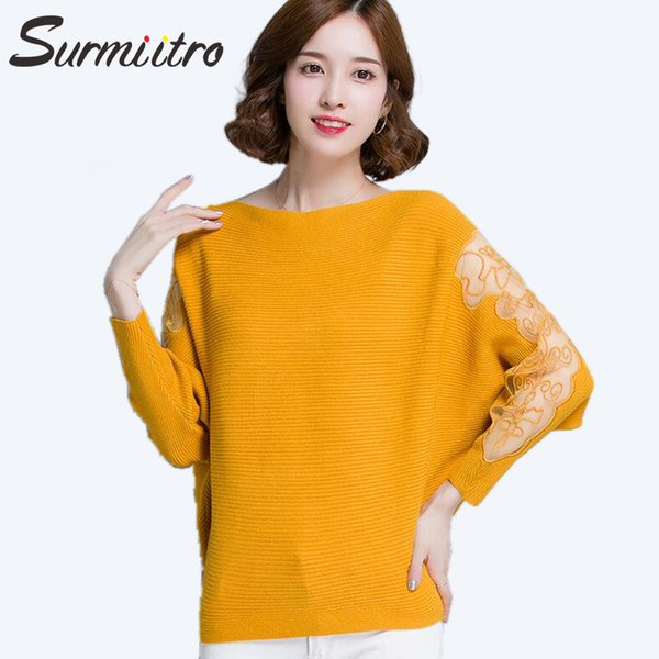 Surmiitro Plus Size Hollow Out Winter Sweater Women 2018 Autumn Lace Knitted Jumper And Pullover Female Big Tricot Pull Femme