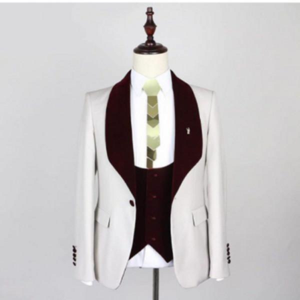 New Style Groomsmen Xaile Vermelho Vinho Lapela Noivo Smoking One Button Men Ternos De Casamento / Prom Melhor Homem Blazer (Jacket + Pants + colete + Gravata borboleta) M39