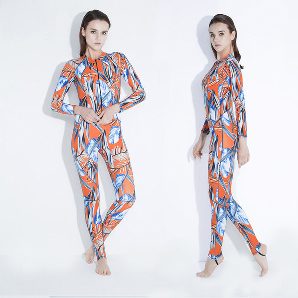 New long sleeve one piece scuba diving wetsuit for women lycra anti UV snorkeling surfing suit