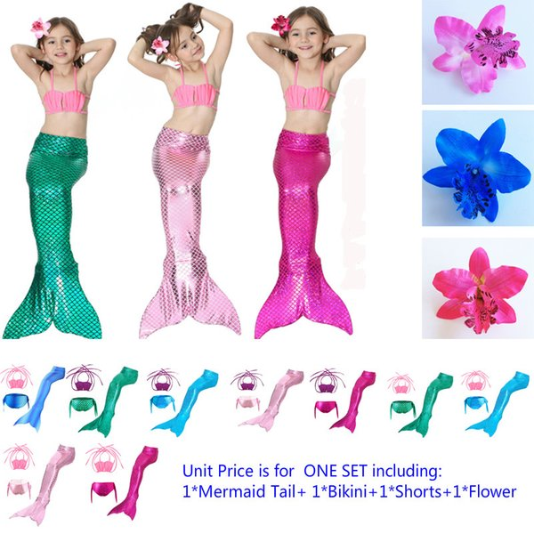 Kids Costume Mermaid Dress 4pcs in a Set Including Girl's Mermaid Tail Skirt,Bikini ,Shorts and Headdress Flower