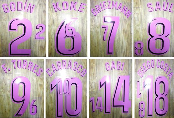 17 18 club de fútbol de distancia violeta conjuntos de nombres impresos DIEGO COSTA KOKE GRIEZMANN GODIN pegatina de sellado del jugador de fútbol letras de plástico impresas