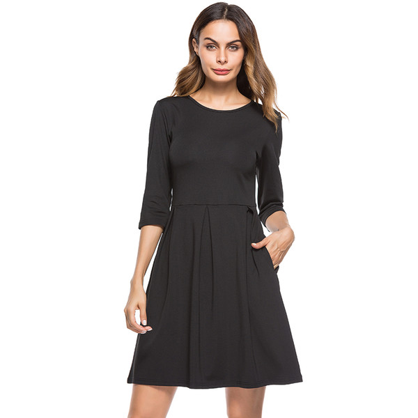 Black Casual Women Dress with Pockets Plus Size Solid Vestido 3/4 Sleeve Burgundy Midi Dresses 2018 Fit and Flare Robe