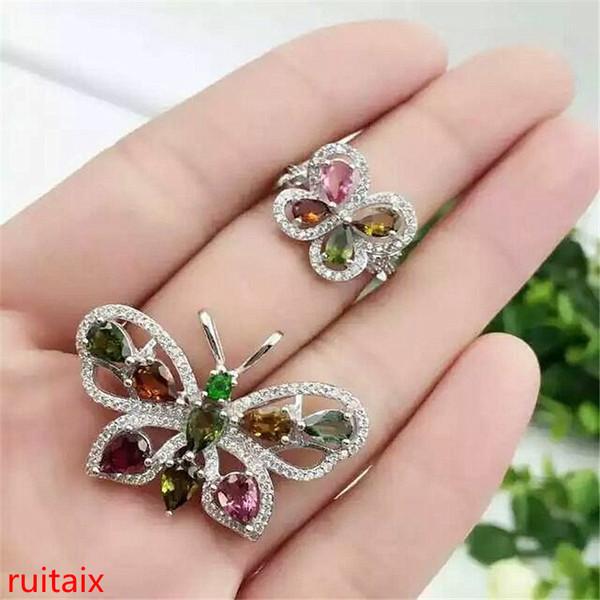 Bijoux de boutique KJJEAXCMY Bague à pendentif femelle avec pendentif de tourmaline naturelle incrustée en argent pur 925 sertie de 3 ensembles pour le collier.
