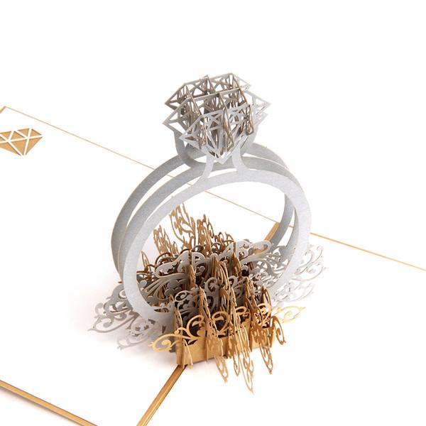 Anillo de oro 3d Pop-up invitaciones de boda Romántico hecho a mano de San Valentín para amante postal Tarjeta de regalo de felicitación