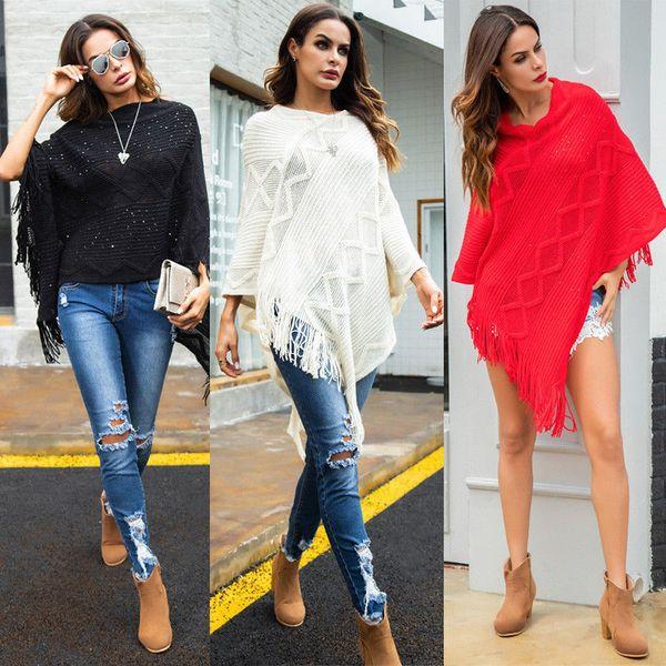 Fashion Autumn Wool Cotton Tassel Wrap Ladies Poncho Cape Jumper Shawl Knitted Winter Warm Top Clothes