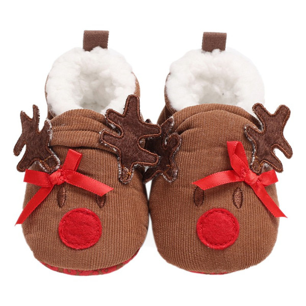 Infant Baby Girl Boy Shoes First Walker Toddler Cloth Crib Shoes Christmas Cartoon Soft Sole Newborn Autumn Winter Warm
