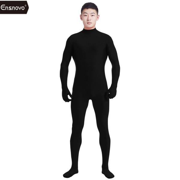 Ensnovo Hommes Lycra Spandex Costume Col Roulé Unitard Yoga Dancewear Une Pièce Complet Personnalisé Second Skin Tight Cosplay Costume