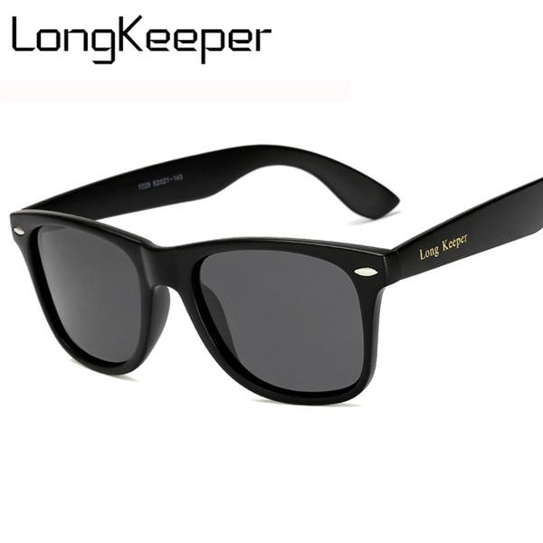 LongKeeper Brand LOGO Men Polarized Sunglasses Driving Mirrors Coating Points Black Frame Eyewear Anti-glare Sun Glasses UV400