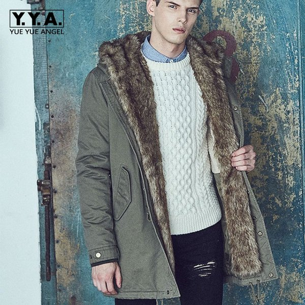 2018 Winter New Army Green Mens Parka Cotton Lining Warm Overcoat Fashion Fur Trim Hooded Jackets Men Thicken Long Coat