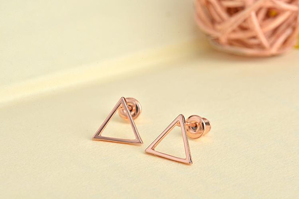 top popular Small Hallow Triangle earrings for women Metal Geometric Earrings boucles d'oreilles pour les femmes Simple Korean earing 2019