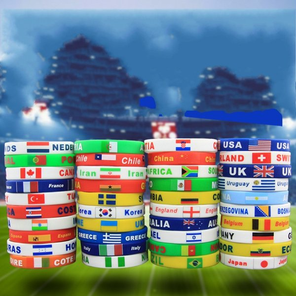 2018 Russian Football World Cup Silicone Bracelet National Flag Print Letter Color Wristband Souvenir Jewelry Hand Ring Gift 1gb WW